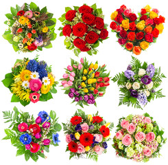 Bouquets of colorful flowers for Birthday, Wedding, Easter, Holi