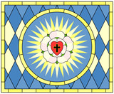 Luther rose (Christian Symbol), stained glass