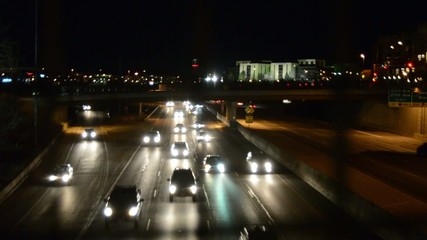 Traffic on the freeway at night