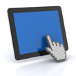 Hand cursor clicking a digital tablet with copyspace, 3d render