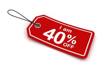 I am 40 percent off sale tag, 3d render