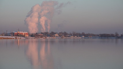 (Timelapse) Factory Pollution over Lake