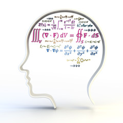 Outline of human head with advanced mathematical equations