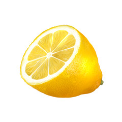 half of a lemon isolated on a white background