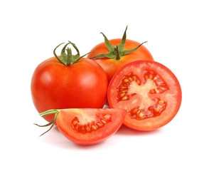 Tomato. Whole and a half isolated on white