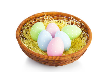 Ester Eggs in basket with hay