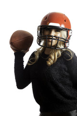 Pretty Girl Red Helmet Throwing Football Isolated Background