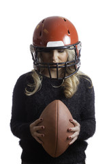 Pretty Girl Red Helmet Holding Football Isolated Background