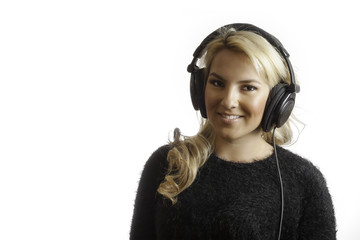 Pretty Girl Smiling In Studio Headphones Isolated Background
