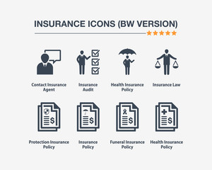 Insurance Icons 9 (Black White Version)
