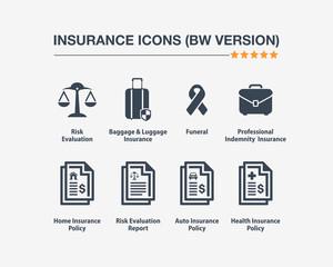 Insurance Icons 10 (Black White Version)