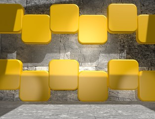 yellow cubes in empty concrete room