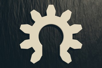 half gear on relief background
