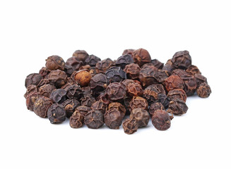 Black pepper was placed on a white background