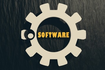 dot software top level domain in gear on black
