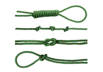 Green nylon rope tied the knot