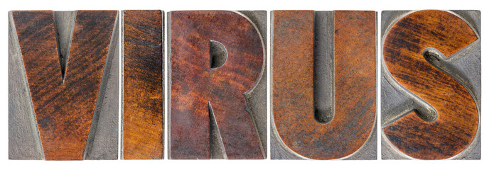 virus word in wood type