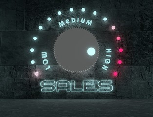 sales regulator neon shine scale and low to high relative marks
