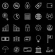 Finance line icons on black background