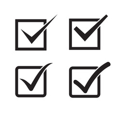 Set of check mark, check box icons