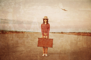 Traveler with suitcase, vintage image
