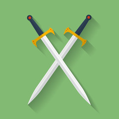 Icon of ancient swords. Flat style