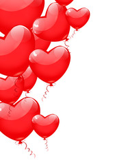 Red balloons in the shape of a heart isolated on white backgroun