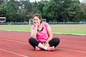 Runner woman smiling