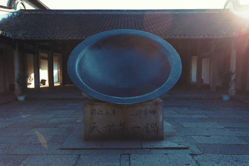 biggest pan monument in wuzhen,china