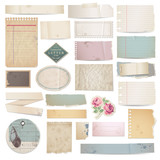set of vector paper scraps on white