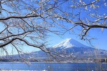 積雪の河口湖と富士山
