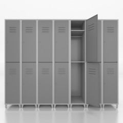 Empty  lockers isolate on white background