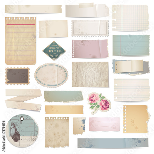 set of vector paper scraps on white - 78736176