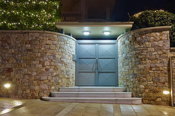 Christmas decorated house entrance night view, Athens  Greece
