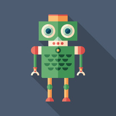 Colorful robot flat square icon with long shadows. Set 20