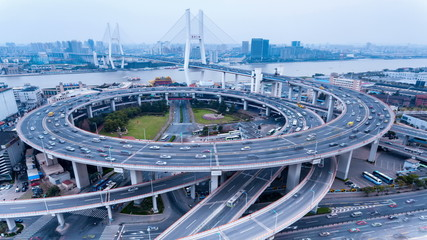shanghai nanpu bridge of traffic ,time lapse photography