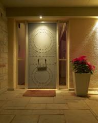 Illuminated modern house door and Christmas flower pot