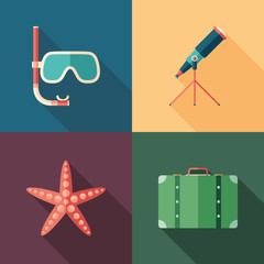 Set of beach flat square icons with long shadows.