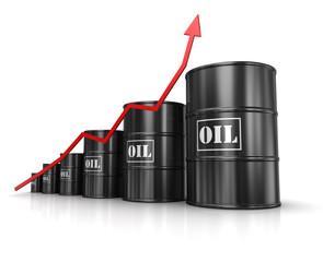 Oil barrels with increasing arrow