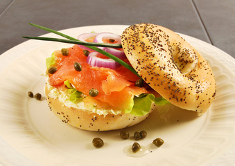 Smoked salmon bagel sandwich