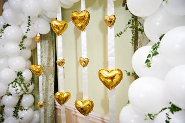 Beautiful balloons hearts in wedding