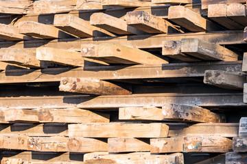 Stack of wooden railway sleepers