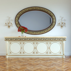 Vintage dressing table with carved framed mirror and roses