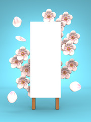Cherry Blossoms And Blank Billboard On Blue Background