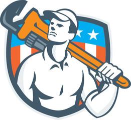 Plumber Holding Wrench USA Flag Retro