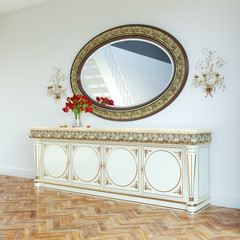 Vintage dressing table with roses on and mirror in carved frame