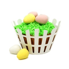 Spring cupcake with grass, eggs and white picket fence