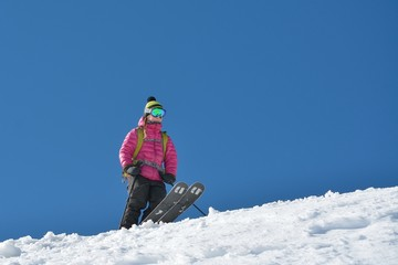 Woman skier in the soft snow
