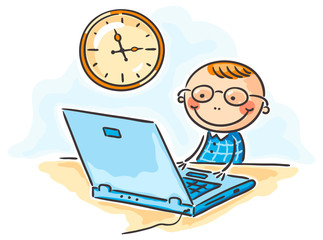 Boy in glasses at the computer