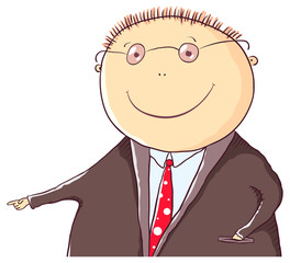 Friendly man in a suit is pointing at something